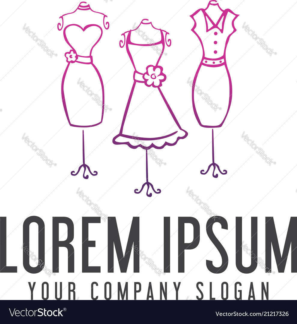 Woman Clothes Logo Design Concept Template Vector Image