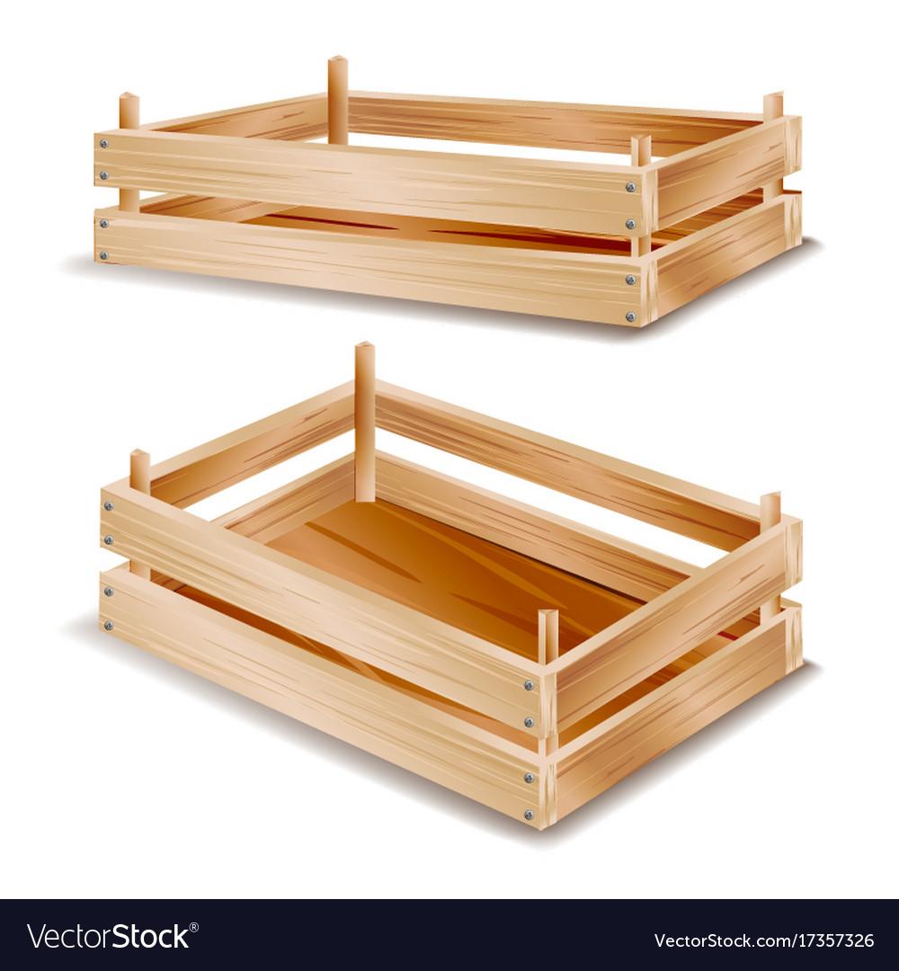 Wooden Box Empty Crate Fruit Vector Image