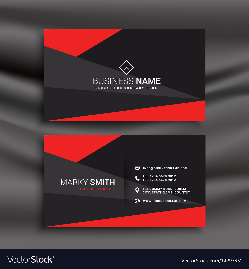 Black And Red Business Card Template With Vector Image - Buy business card template