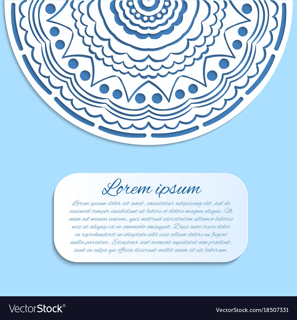 Card with blue and white mandala