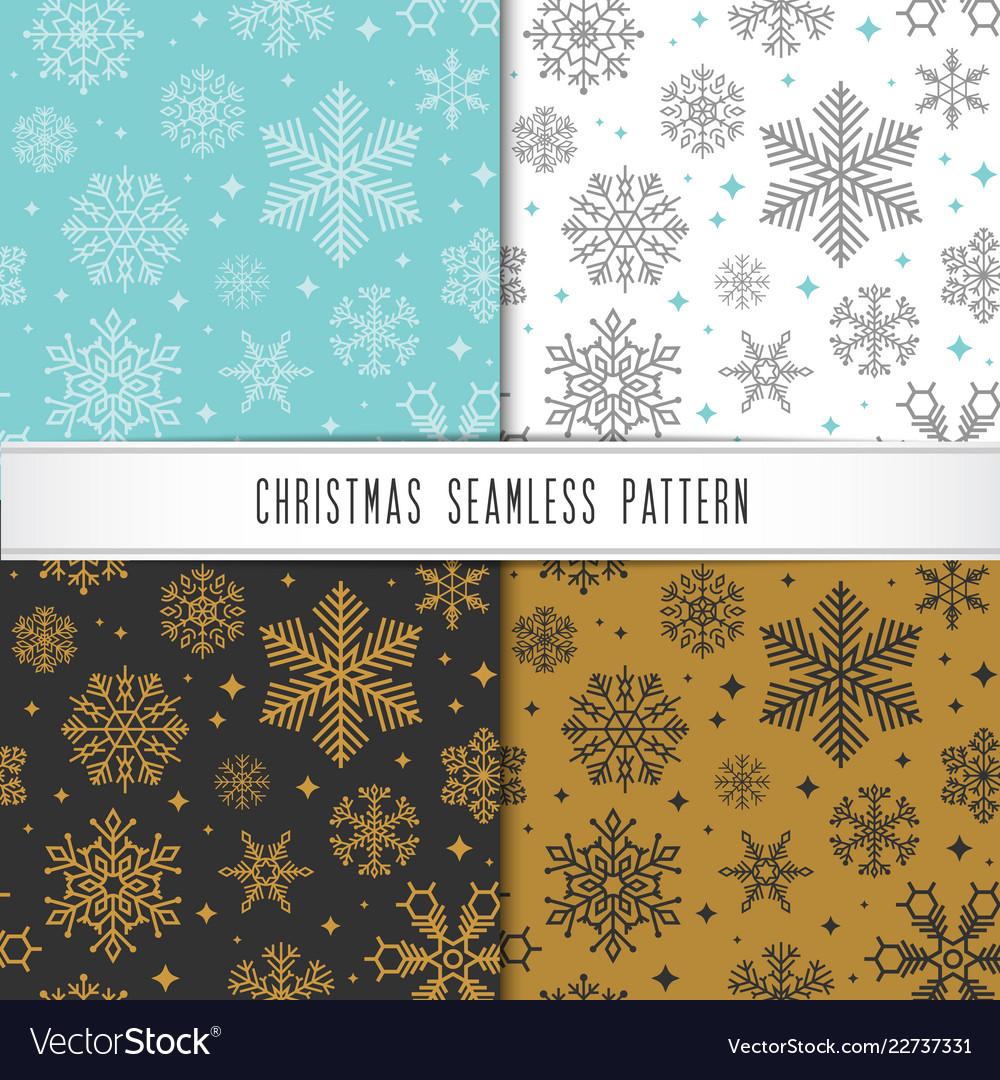 Christmas and happy new year pattern set winter