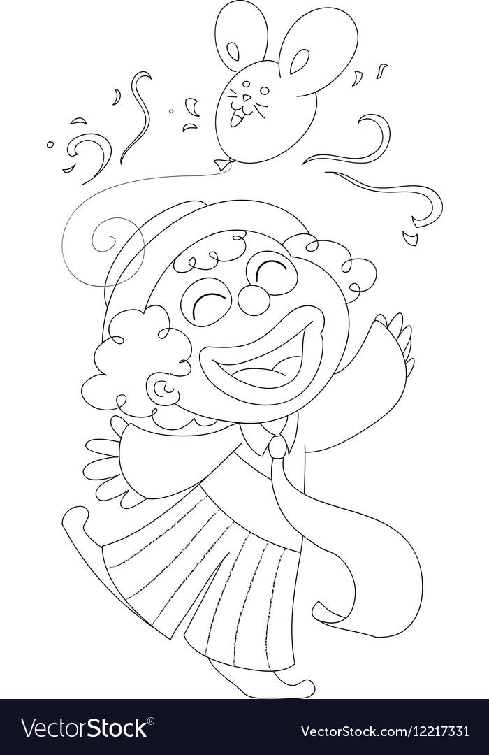 Coloring Happy clown vector image