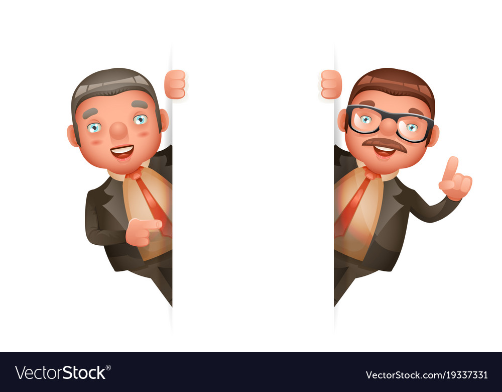 Cute businessman man look out corner 3d realistic