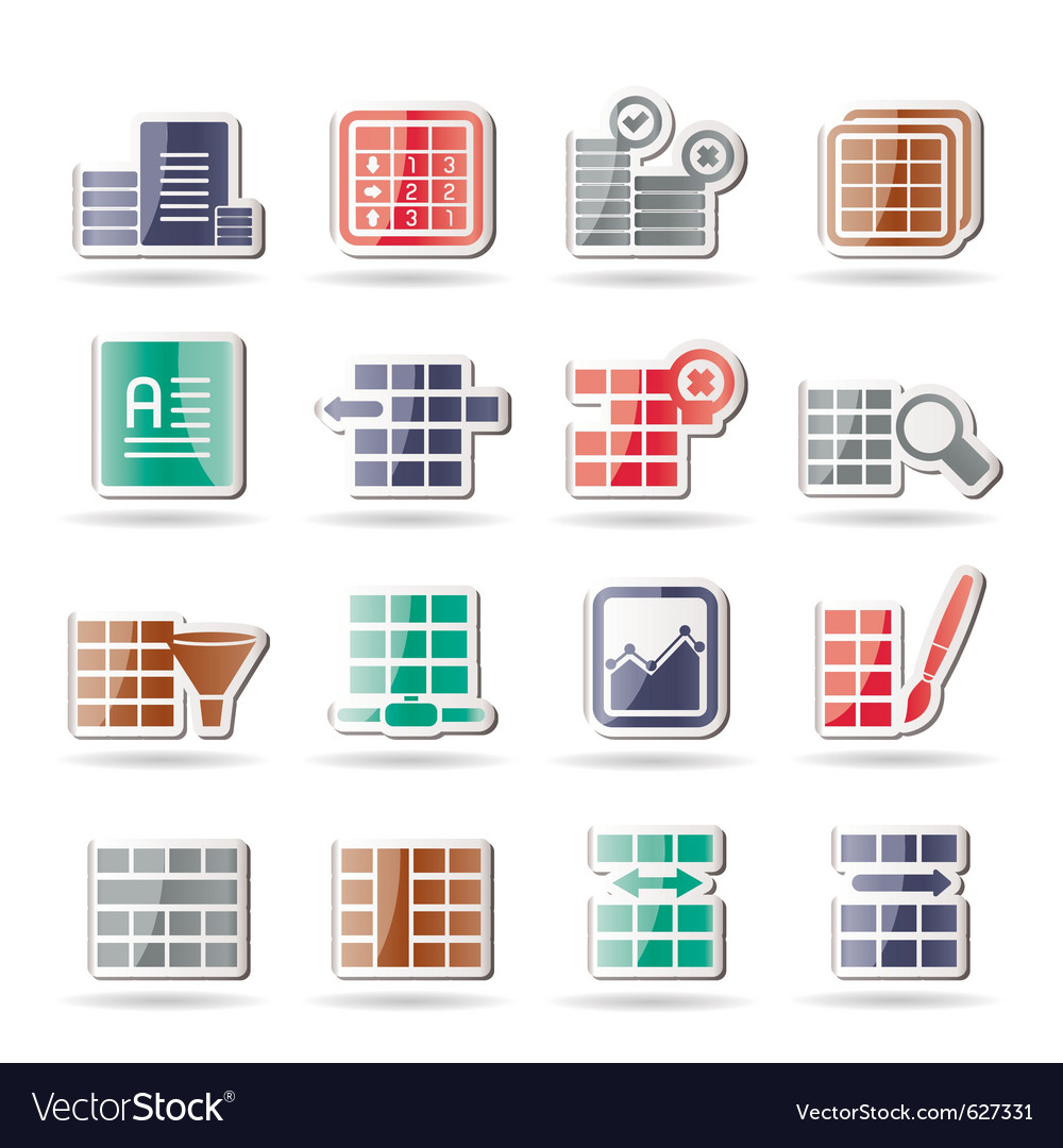 database and table formatting icons royalty free vector