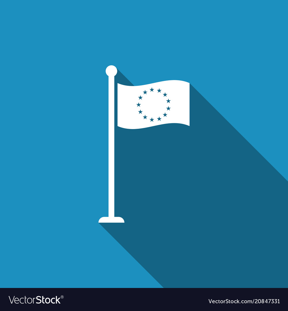Flag of european union icon with long shadow