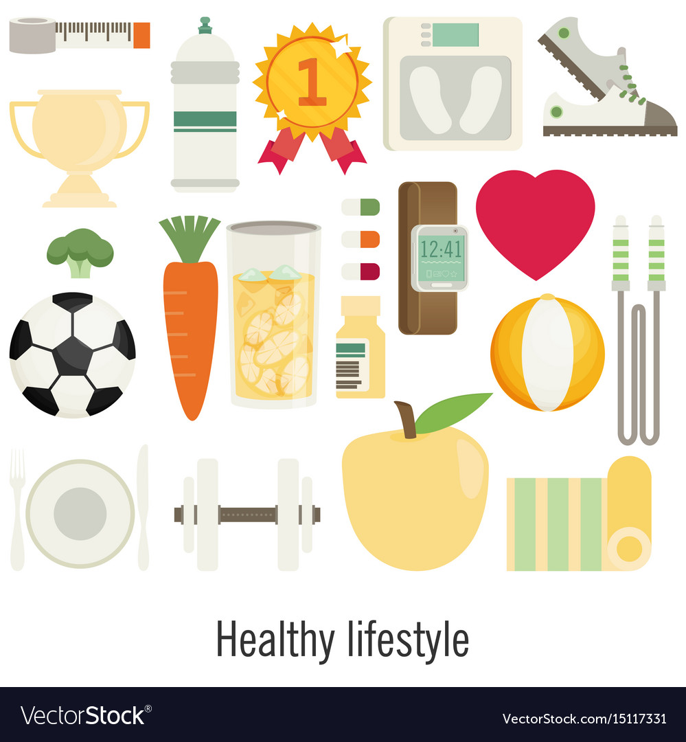 Flat of icons for fitness sport and diet