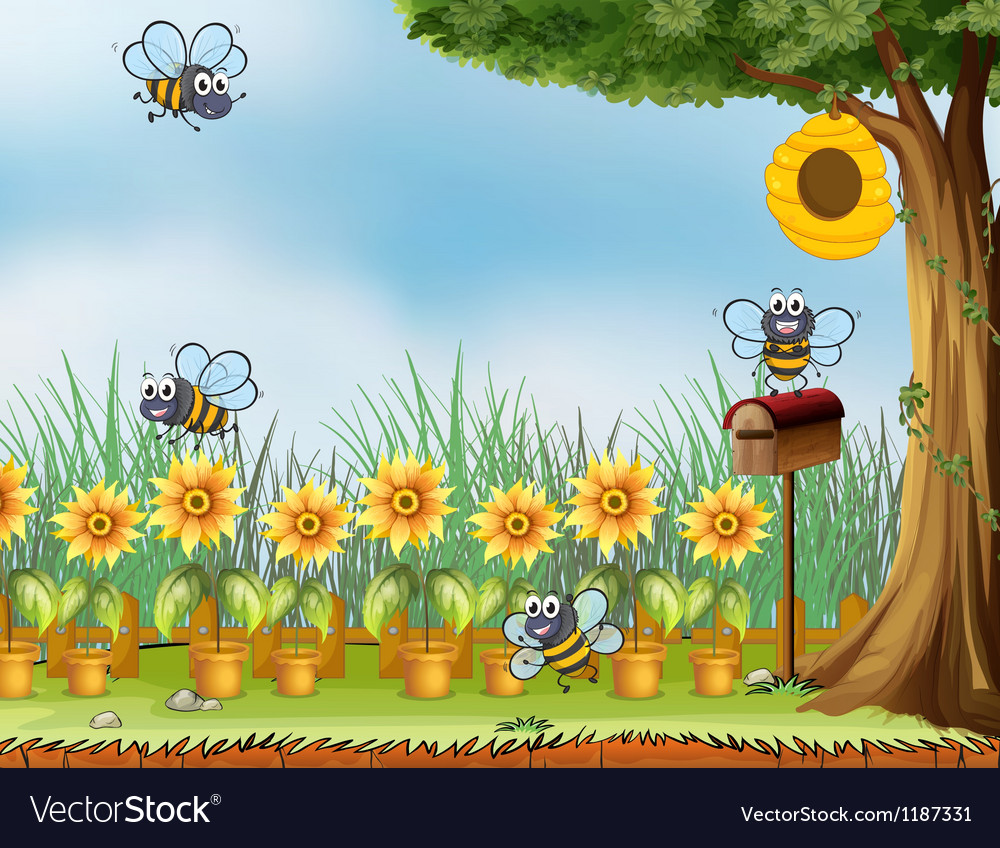 Four bees in the garden vector image