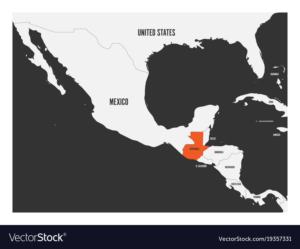 Guatemala Orange Marked In Political Map Of Vector Image
