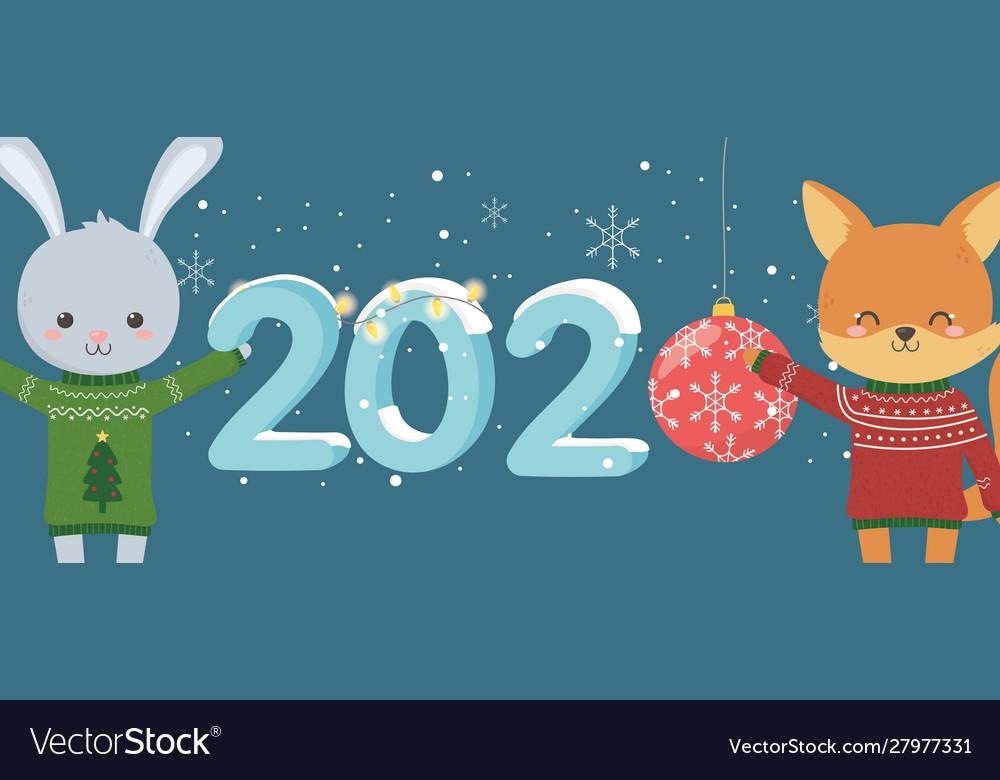 Happy new year 2020 celebration cute rabbit fox