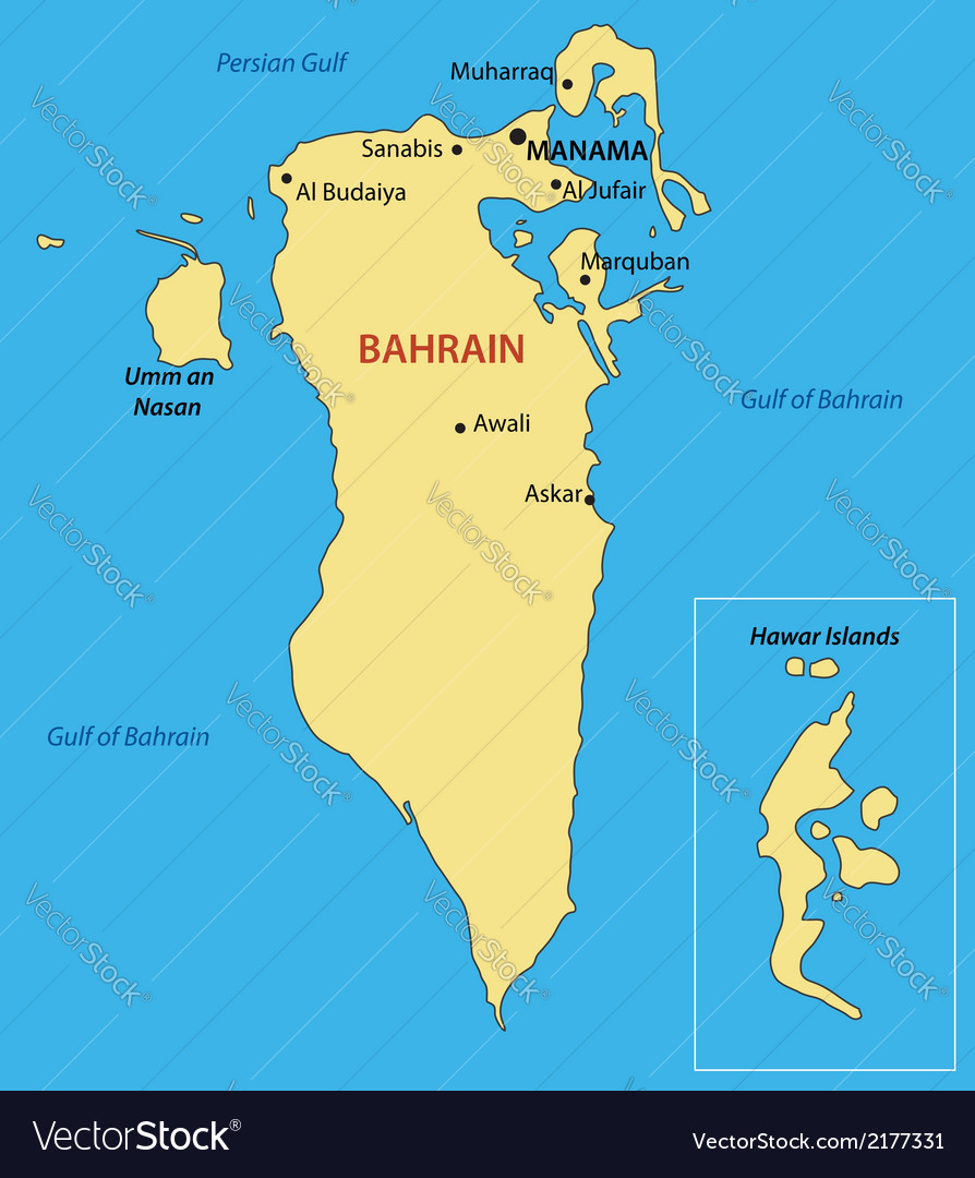 Bahrain On Map Kingdom of Bahrain   map Royalty Free Vector Image Bahrain On Map