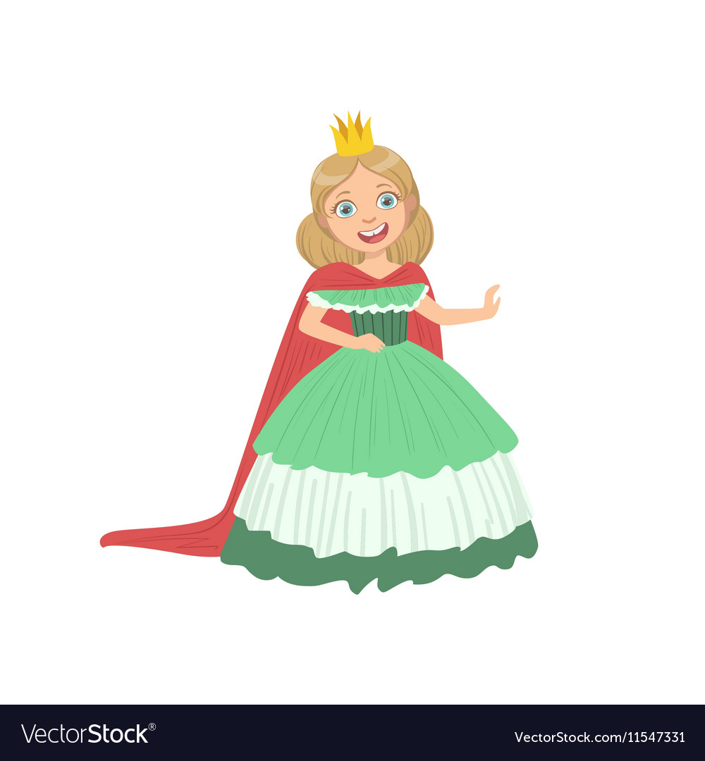 Little Girl In Green Dress Dressed As Fairy Tale vector image