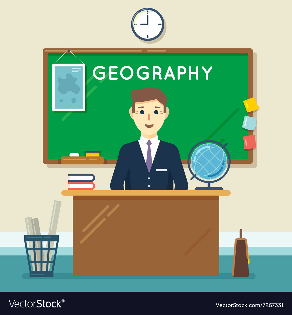 School teacher in classroom Geography lesson