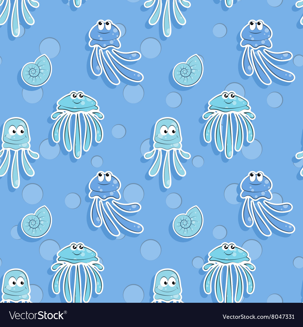 Sea seamless pattern with shells and funny