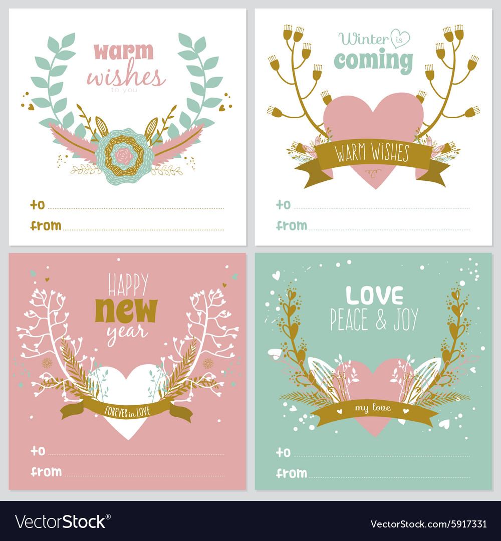 square christmas and new year greeting cards vector image