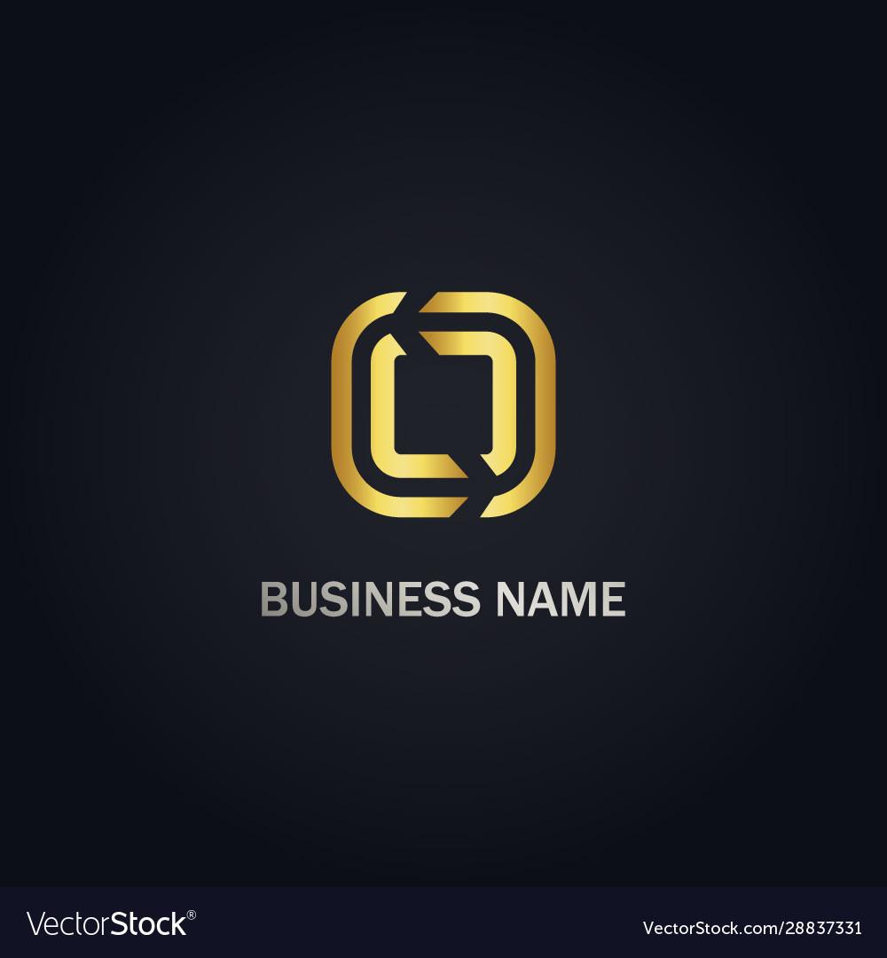 Square line circle gold company logo
