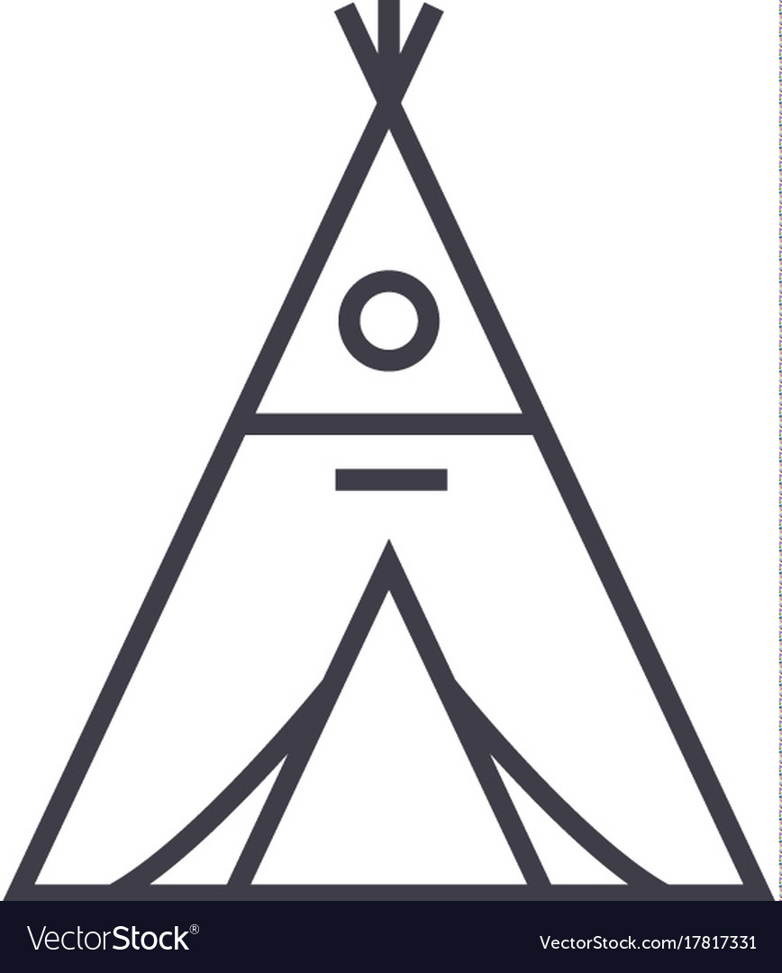 Wigwam line icon sign on