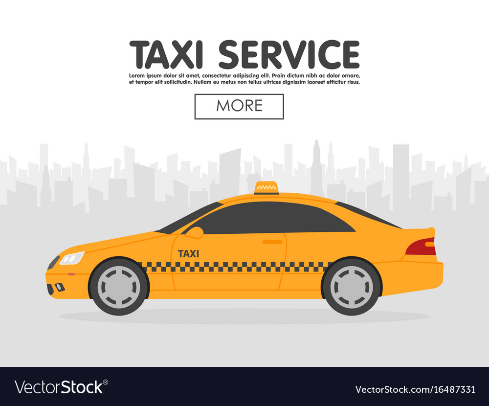 Yellow taxi car in front of city silhouette in