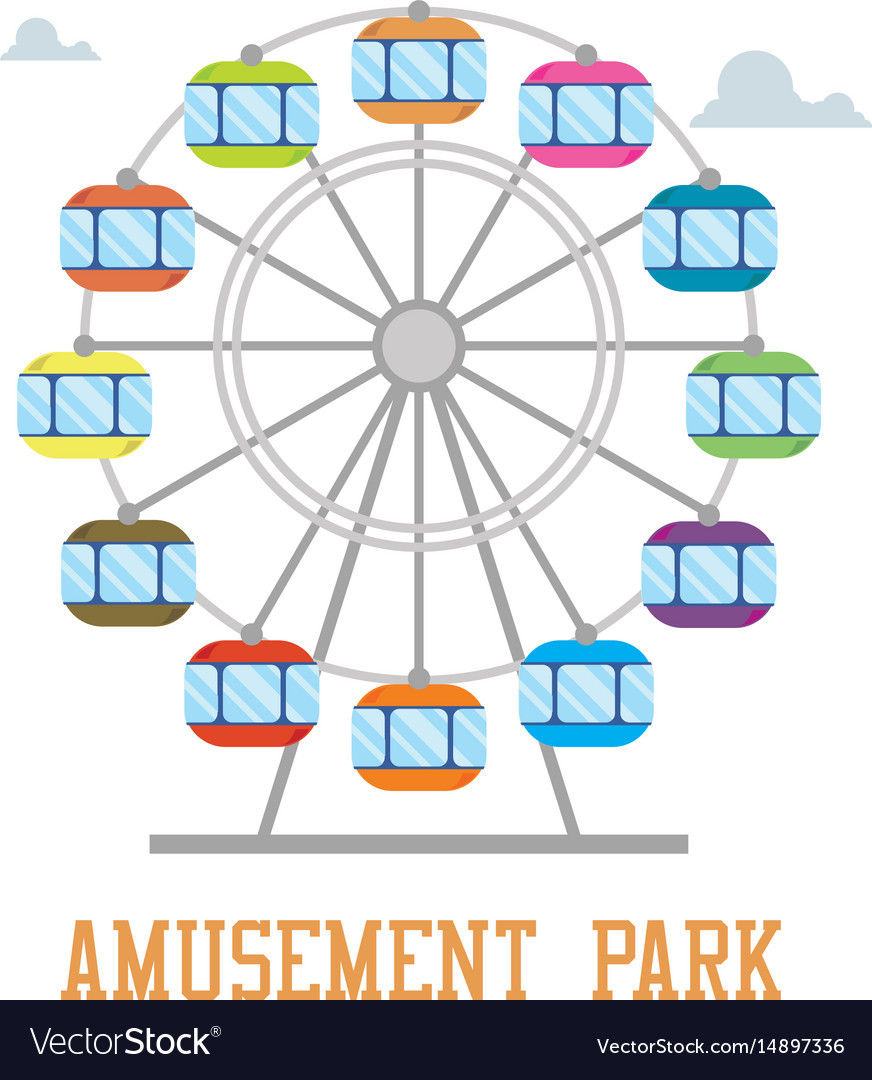 Amuzement park concept ferris wheel isolated