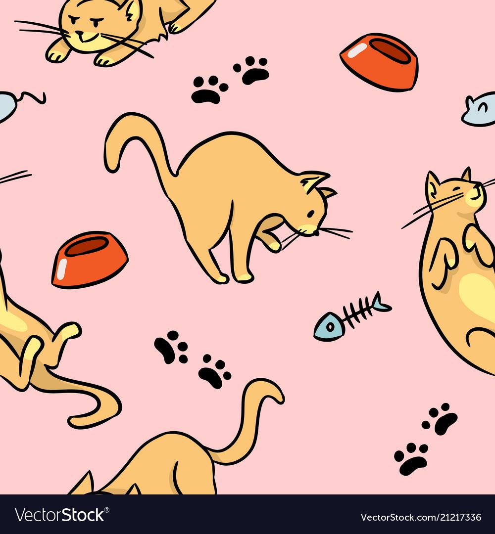 Cartoon cats colorful seamless pattern