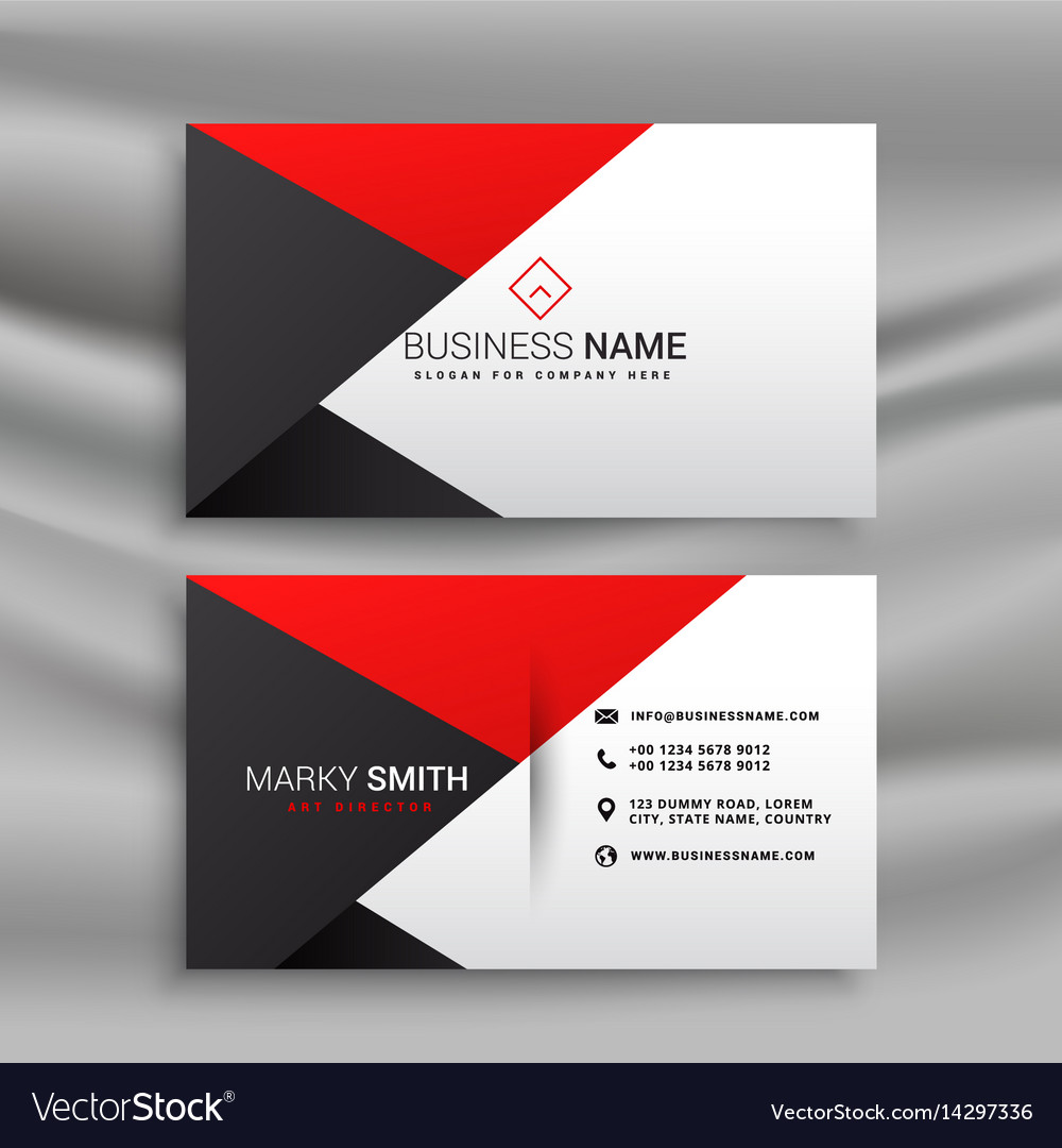 Elegant Red And Black Business Card In Creative Vector Image