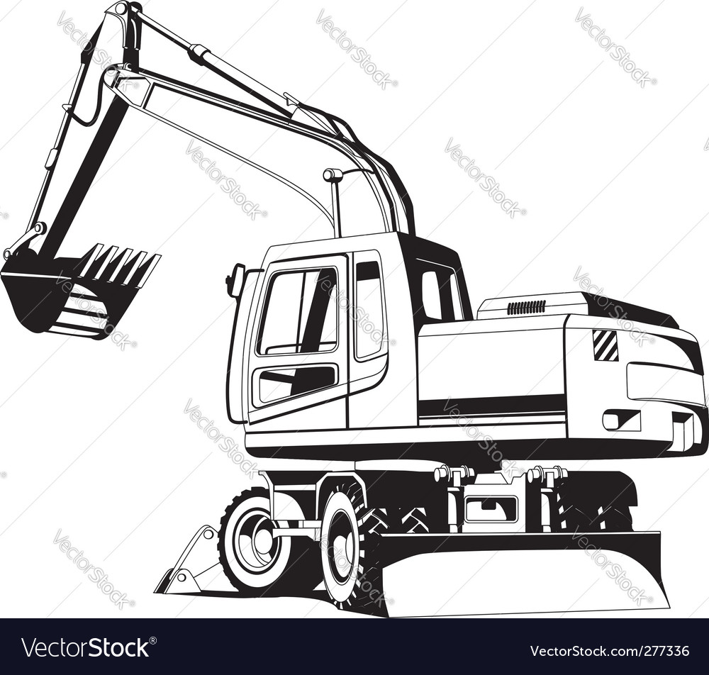 Excavator Outline Vector Image