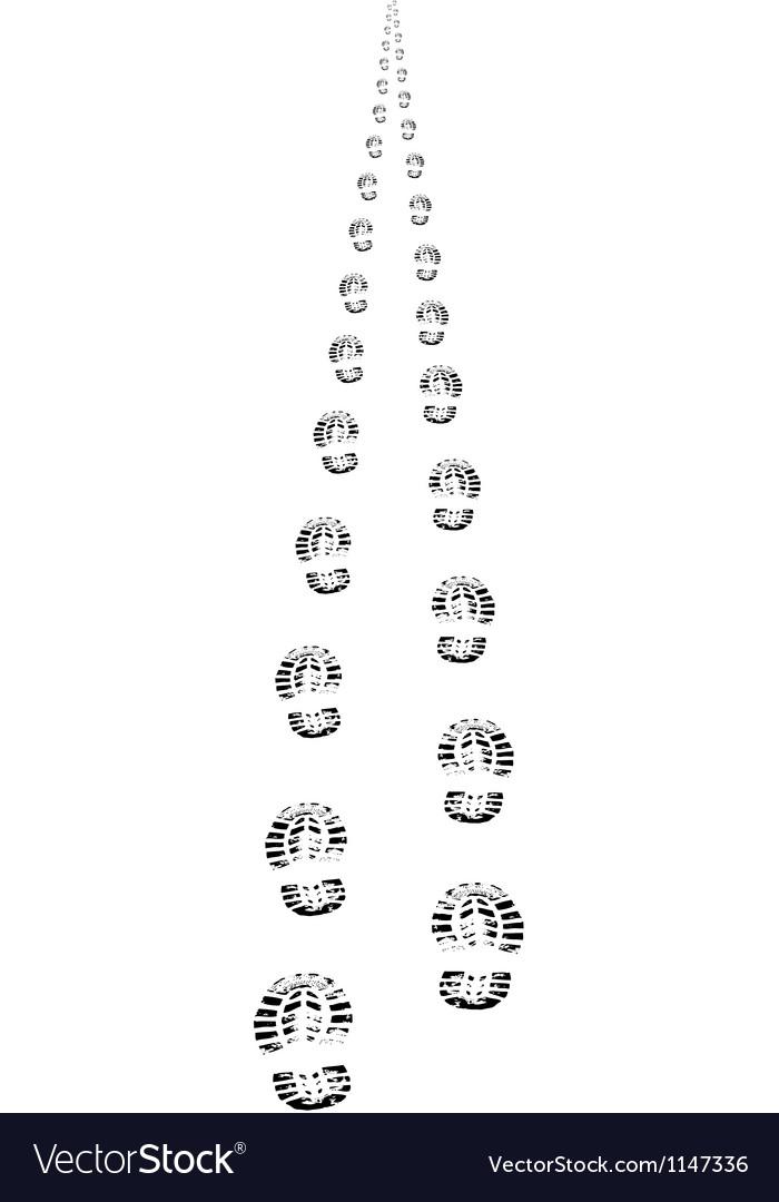 Foot steps walking away in perspective