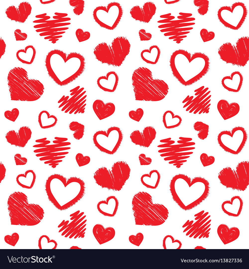 Hearts Love Theme Valentines Day Seamless Pattern Vector Image