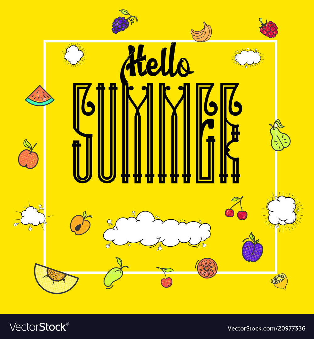 Hello summer hipster vintage stylized lettering