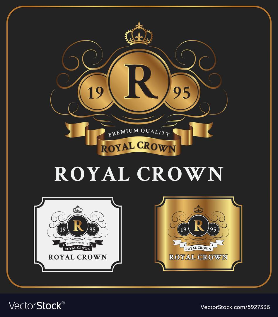 heraldic crest logo template design royalty free vector