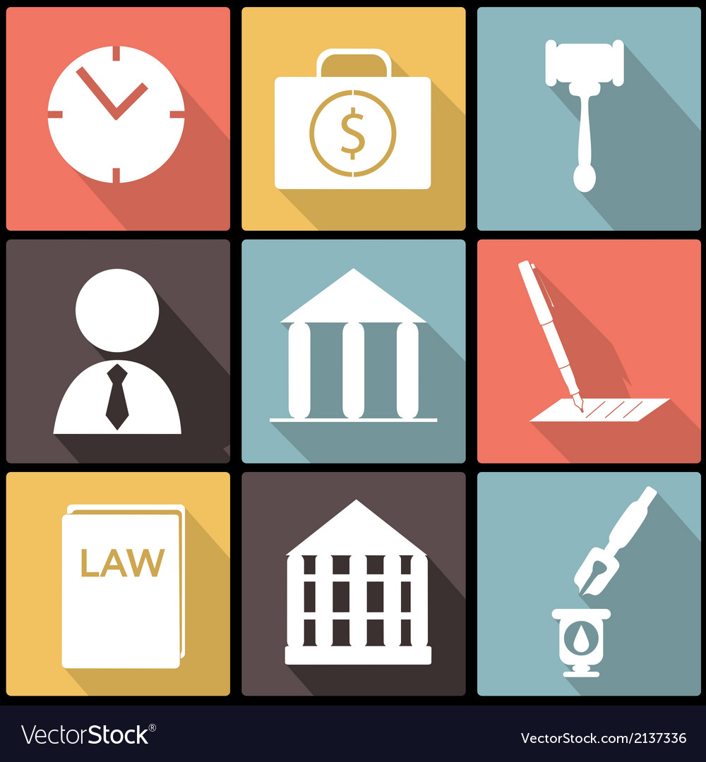 Legal law and justice icon set in Flat Design