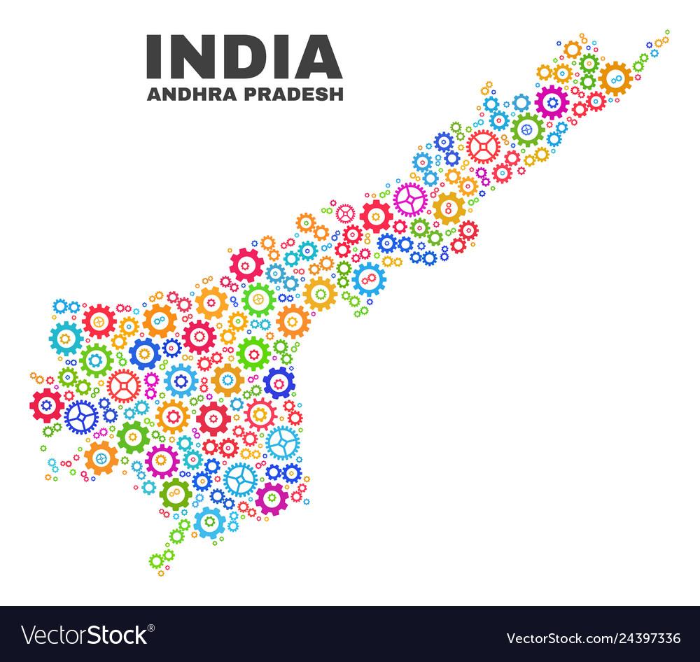 Mosaic andhra pradesh state map of gear items Vector Image