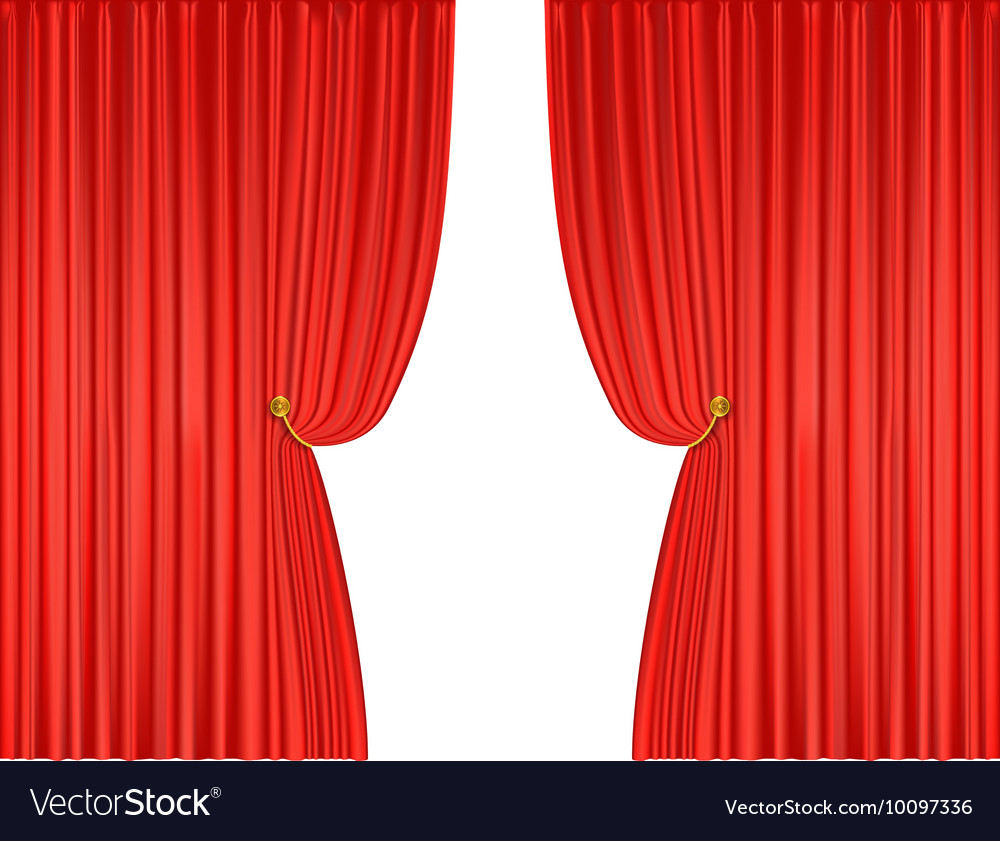 Open Red Theatre Curtains Vector Image