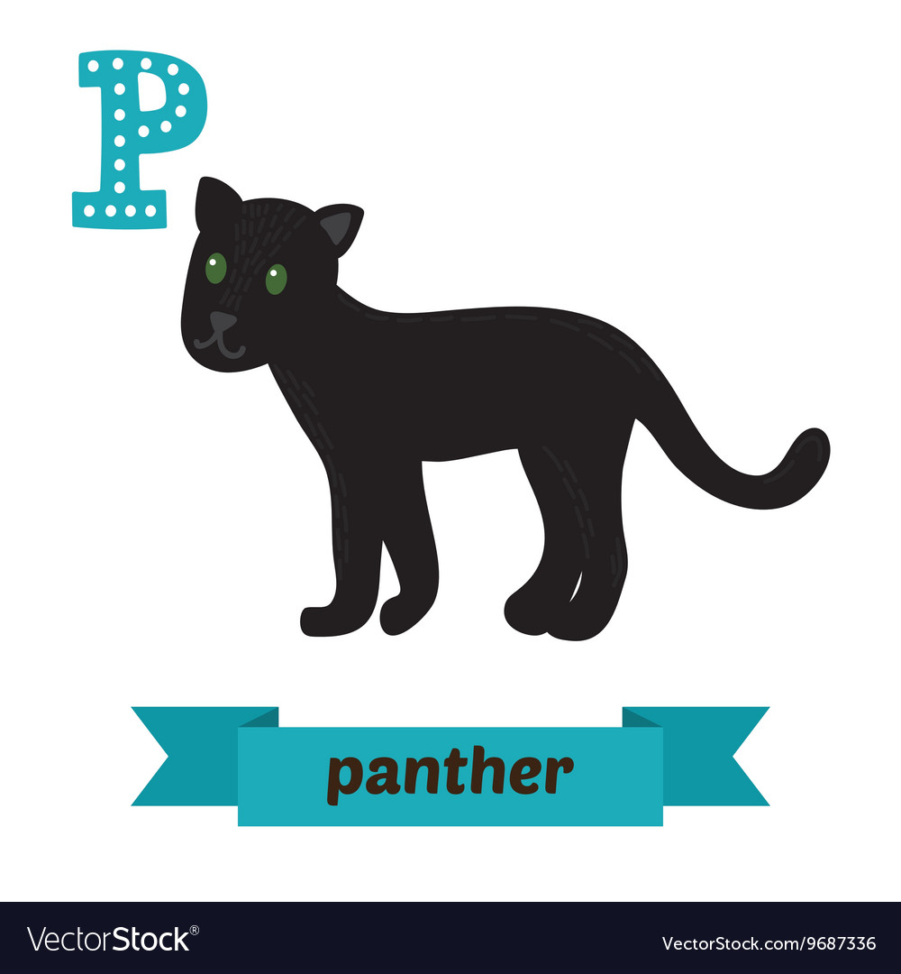 Panther P letter Cute children animal alphabet in