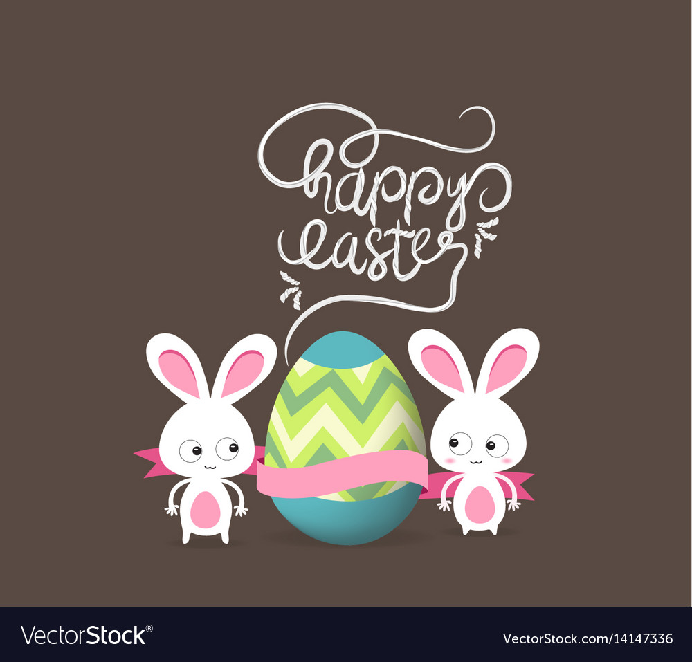 Retro card with striped easter eggs and bunny
