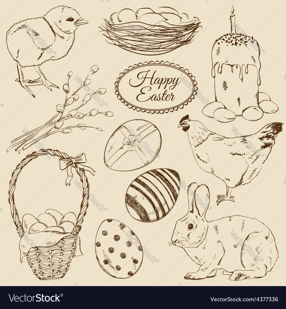 Set of sketch Easter icons vector image
