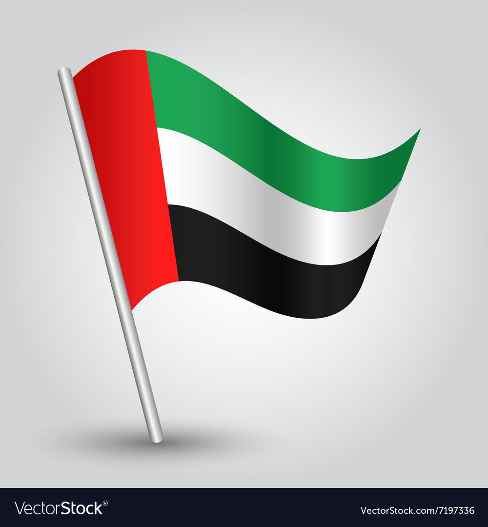 United arab emirates flag on pole vector image