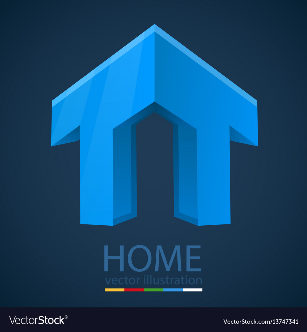 Abstract 3d graphics with home shape