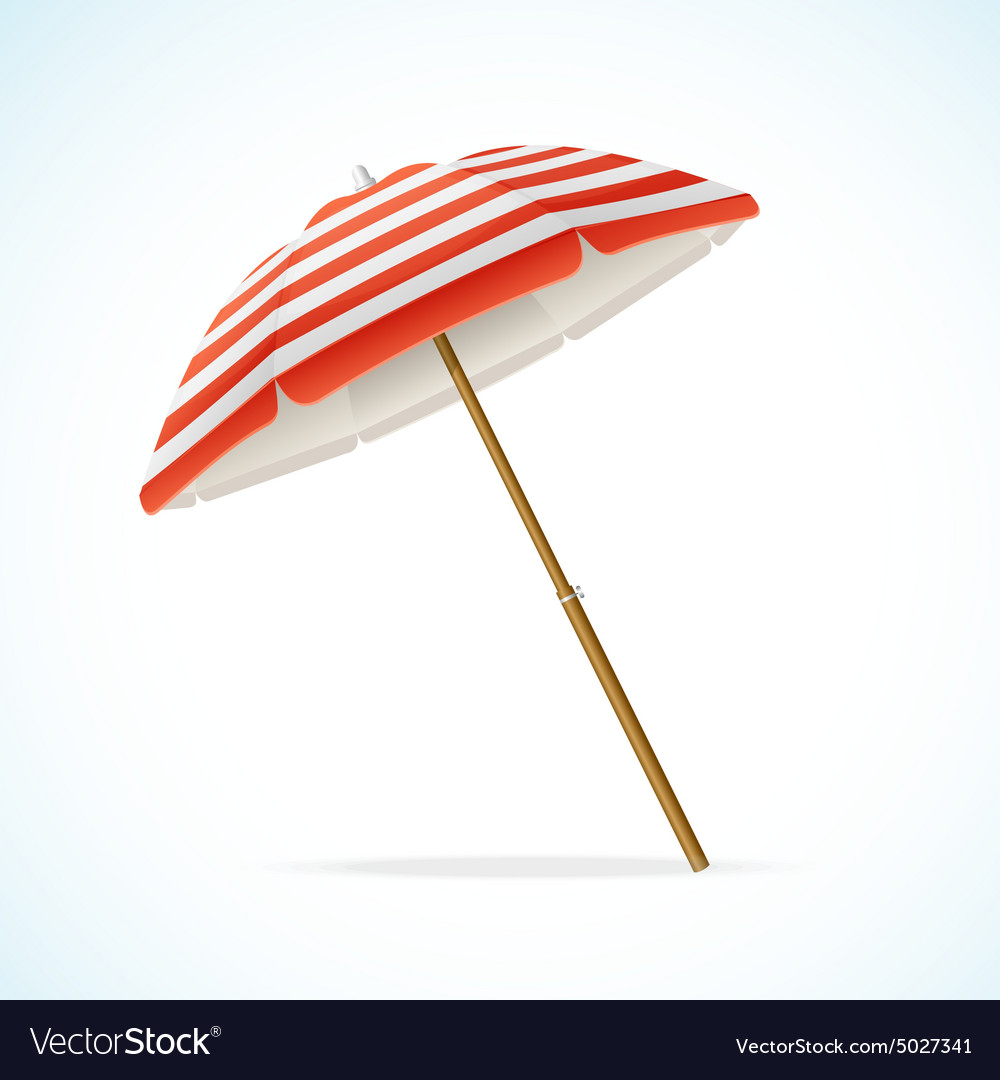 Beach Umbrella Red And White Royalty