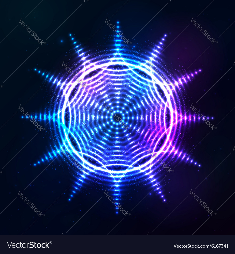 Bright shining blue neon sun at dark cosmic