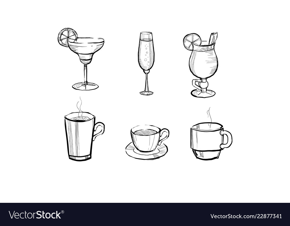 Collection of beverages and hot drinks hand drawn