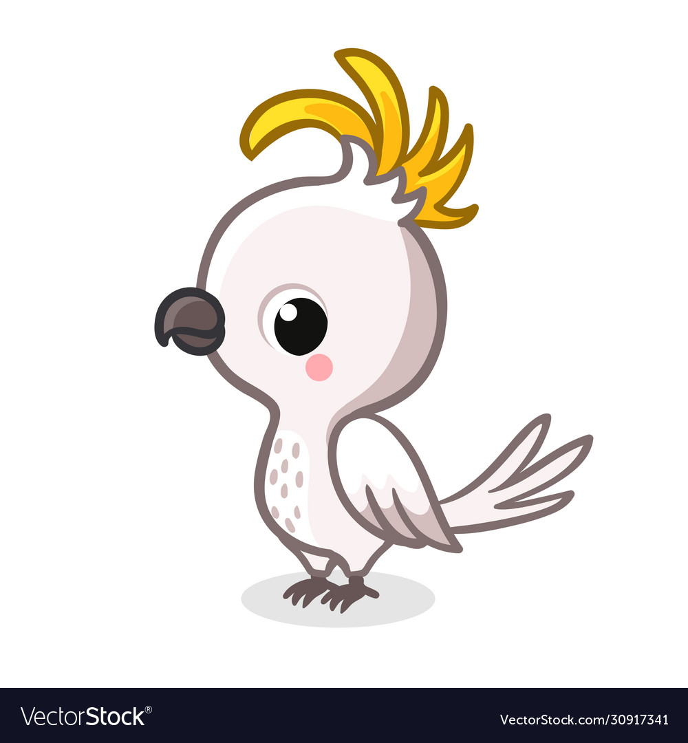 Cute parrot in cartoon style is standing on a