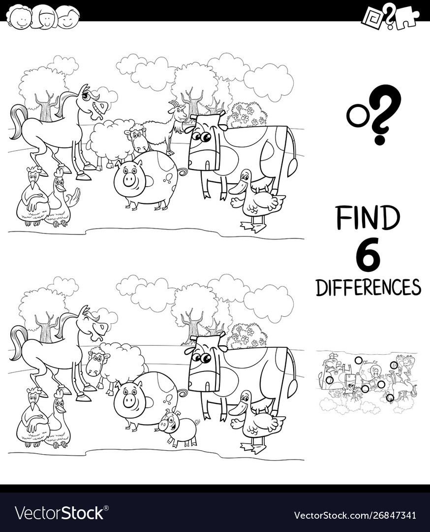 Differences color book with farm animal characters