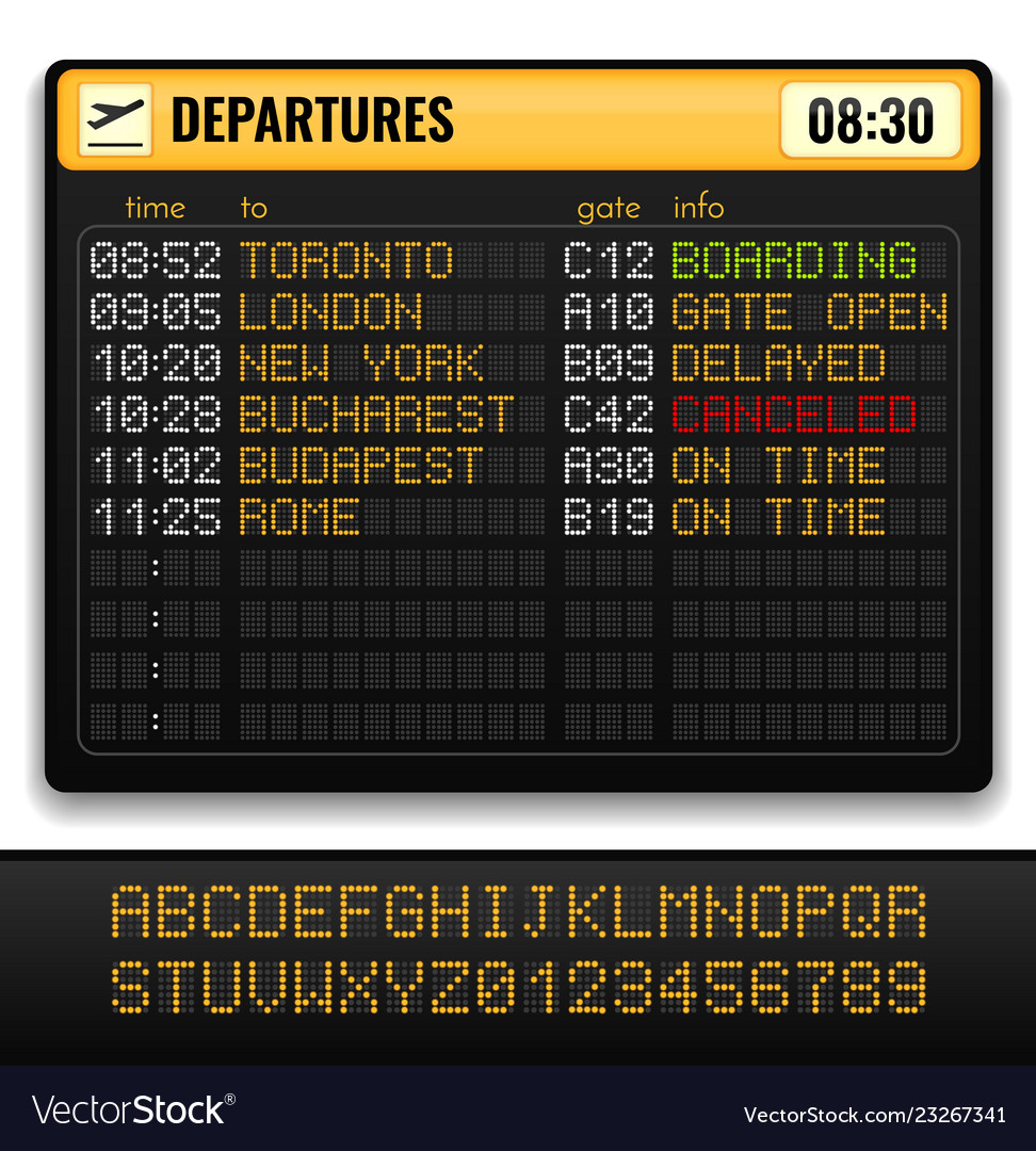 Electronic airport board realistic composition