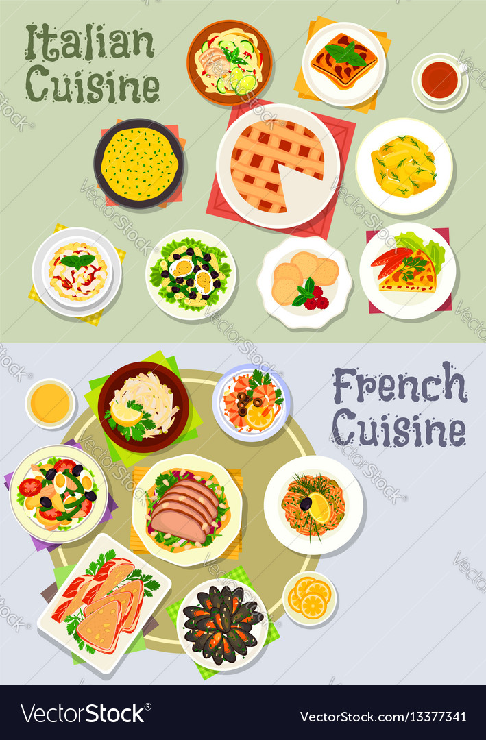 French and italian cuisine dinner icon set