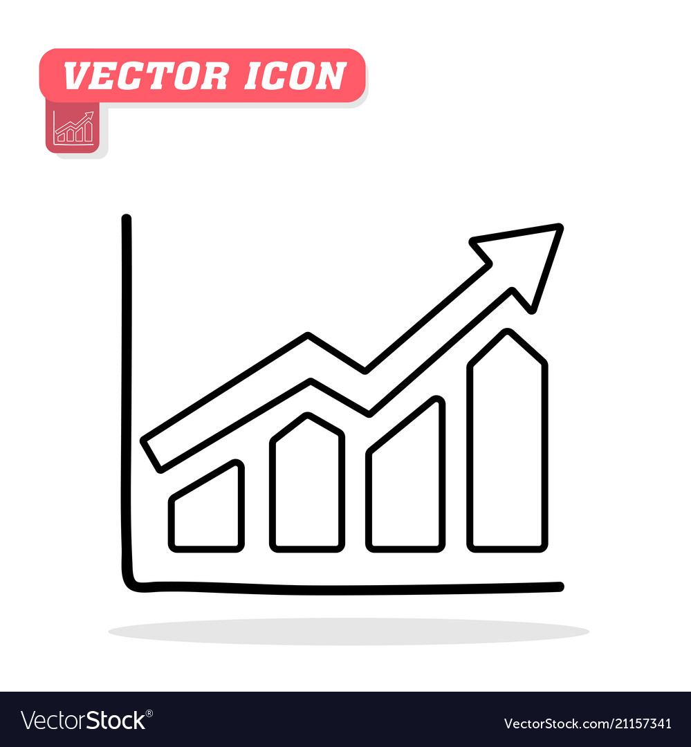 Graph icon in trendy flat icon white backgr