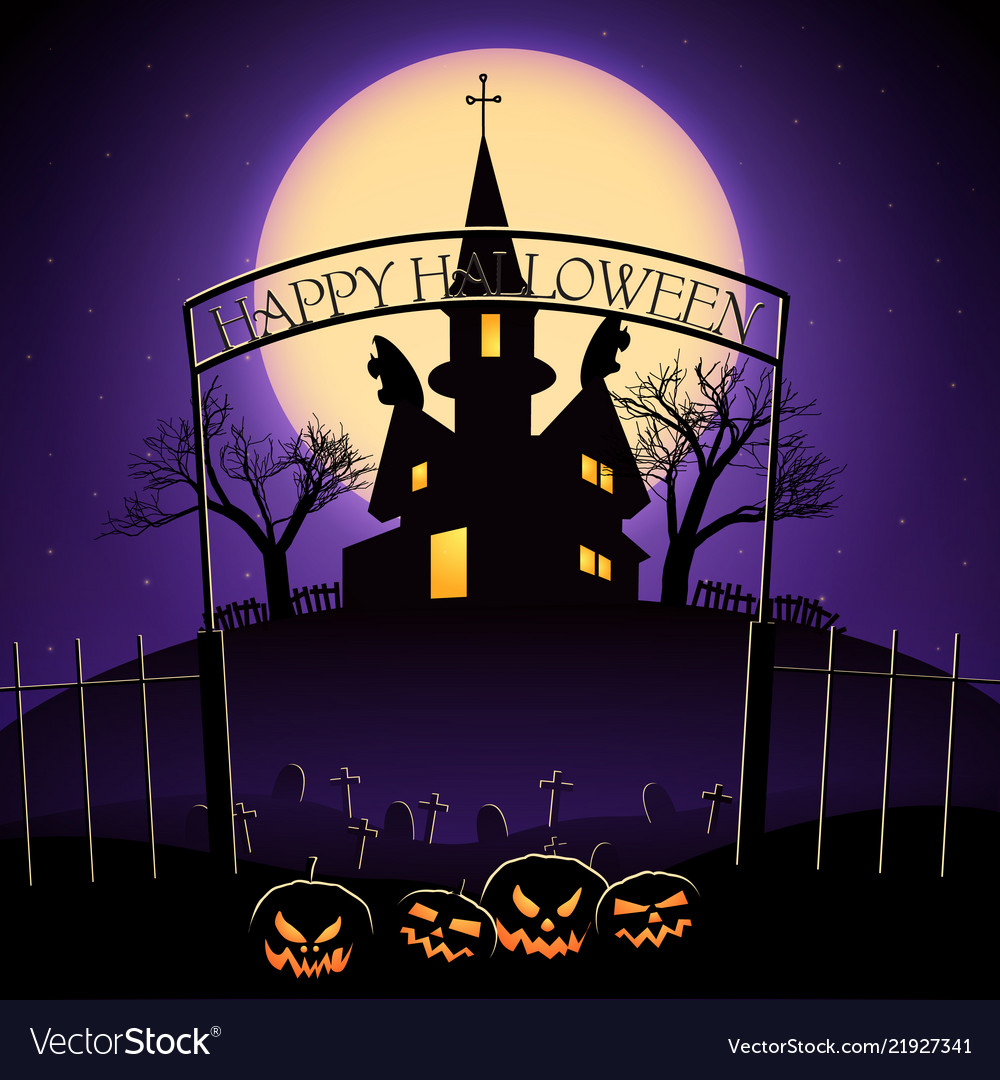 Happy Halloween Design With Haunted House Vector Image