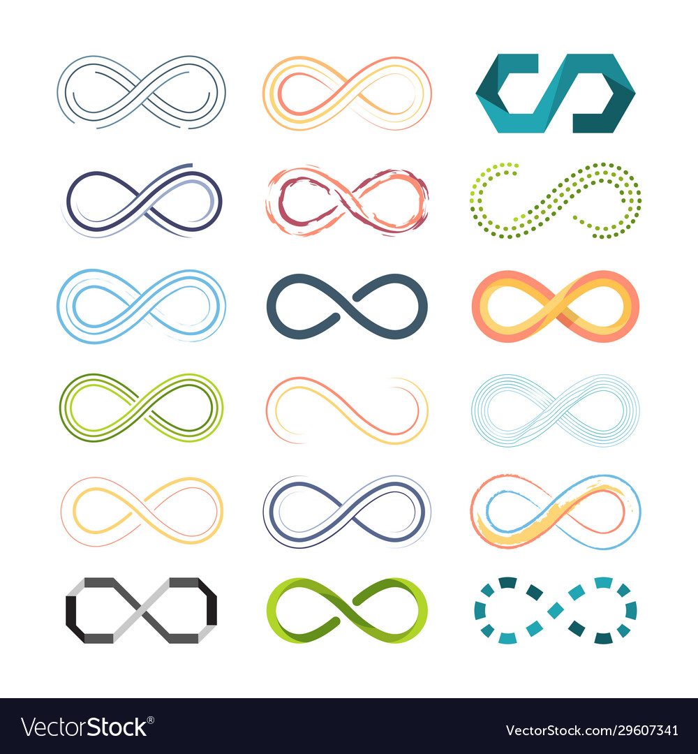 Infinity colored symbols abstract shapes of