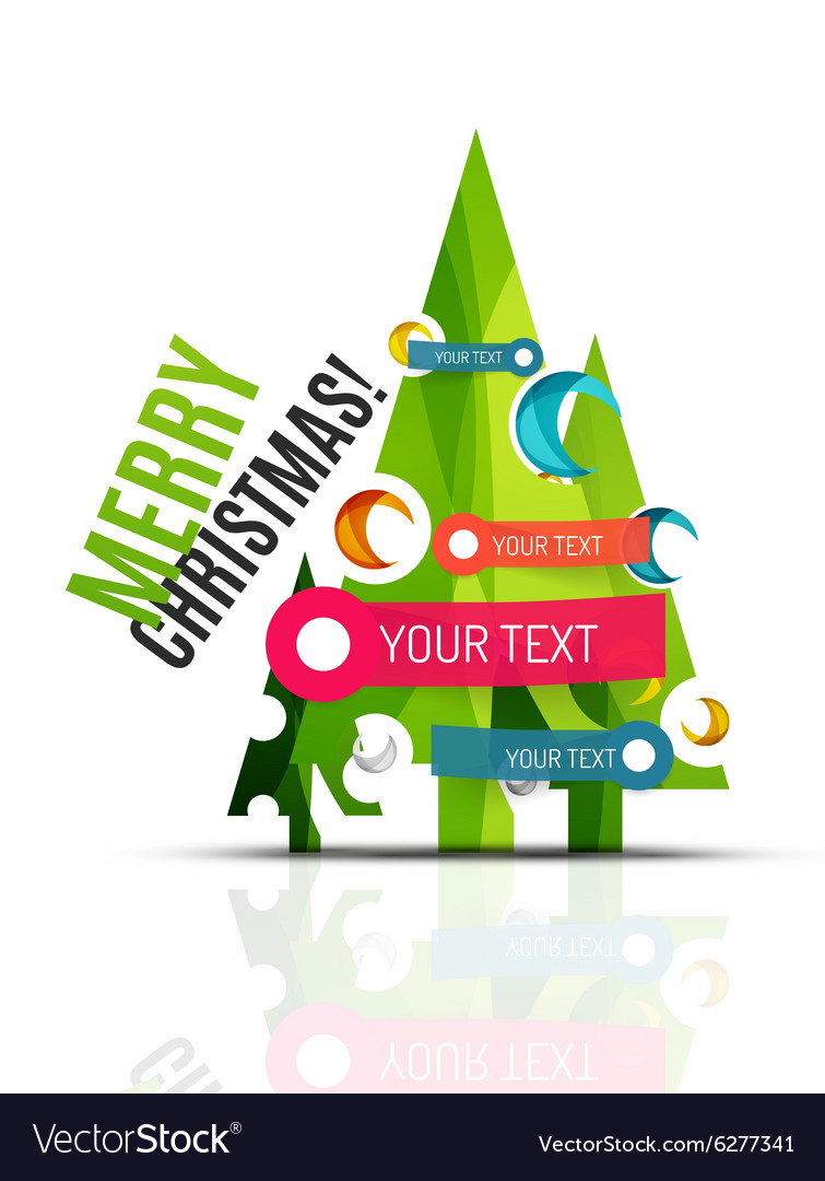 merry christmas tree with info paper stickers vector image - Merry Christmas Stickers