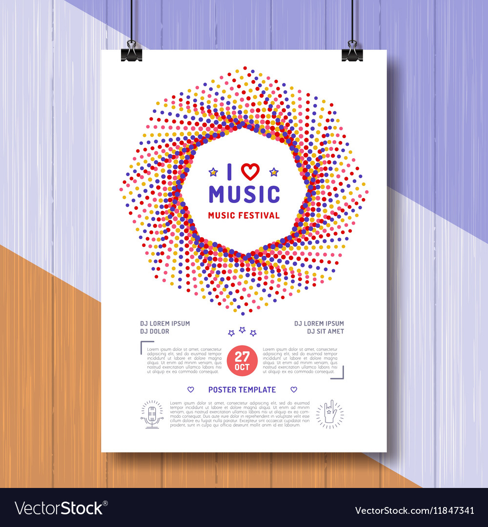 Music retro poster template a4 size royalty free vector music retro poster template a4 size vector image maxwellsz