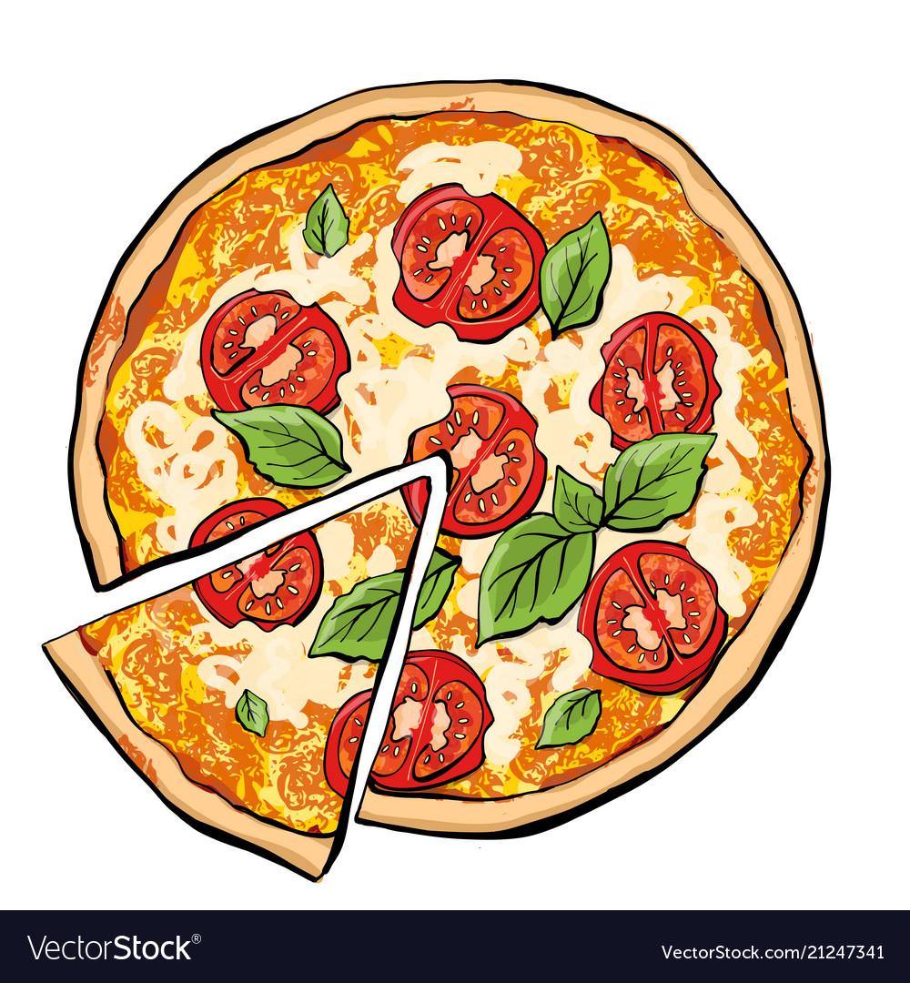 Pizza margarita with slice